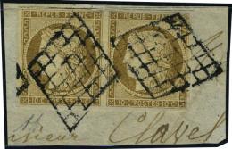 fragment N° 1, 10c bistre paire hor. obl. grille sur fragment, T.B. signé Diéna