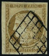 oblitéré N° 1, 10c bistre, bdf, T.B. signé JF Brun