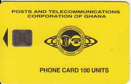 GHANA - Telecom Logo(yellow Backround) 100 Units, Chip SC5, CN : C59101035, 08/95, Used - Ghana
