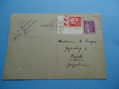 Postal Cards Were Sent From France Paris To Osijek (Yugoslavia) In 1937. - France