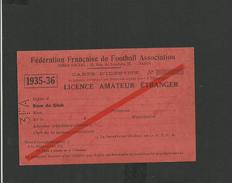 Licence Amateur Football De Joueur étranger 1935/1936 - Non Classés