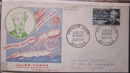 Enveloppe FDC - 1955 - Nantes - Jules Verne - Ecrivain Romancier - YT 1026 - France