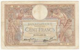 100 Francs Luc Olivier Merson Type 1906 Modifié, Fayette 25.47 P86, 19/05/1939, Alphabet G.66768, Etat : B - 1871-1952 Antiguos Francos Circulantes En El XX Siglo