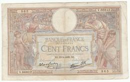 100 Francs Luc Olivier Merson Type 1906 Modifié, Fayette 25.47 P86, 19/05/1939, Alphabet V.66812, Etat : B - 1871-1952 Anciens Francs Circulés Au XXème