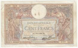 100 Francs Luc Olivier Merson Type 1906 Modifié, Fayette 25.47 P86, 19/05/1939, Alphabet L.66895, Etat : B - 1871-1952 Frühe Francs Des 20. Jh.