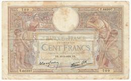 100 Francs Luc Olivier Merson Type 1906 Modifié, Fayette 25.47 P86, 19/05/1939, Alphabet T.66997, Etat : B - 1871-1952 Anciens Francs Circulés Au XXème