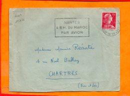 LOIRE-ATL., Nantes, Flamme à Texte, Nnates A 5h Du Maroc Par Avion - Oblitérations Mécaniques (flammes)