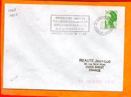 """LOIRE-ATL., Nantes, Flamme à Texte, Exposition """"le Monde Sous-marin"""" 6-18 Mars 1989 - Marcophilie (Lettres)"""