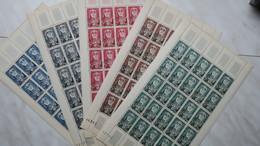 Feuille Complète De Tunisie, N°  383 à 387, Avec Coin Daté Du Septembre 1954  Neuf** Côte 195 € - Ungebraucht