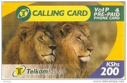 TARJETA DE KENIA CON UNOS LEONES (LION-LEON) - Kenya