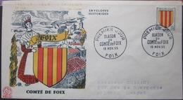 Enveloppe FDC 134 - 1955 - Blason - Foix - YT 1044 - France