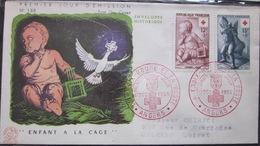 Enveloppe FDC 138 - 1955 - Croix Rouge - Angers - Enfant - YT 1048 1049 - France