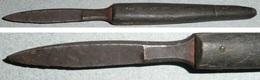 Rare Ancien Coupe-papier/Ouvre-lettres En Bois Et Métal, En Forme De Couteau Stylet - Ouvre-lettres