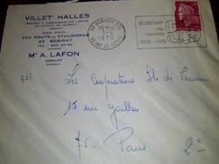 Enveloppe A Entete  Villet Halles A Bobigny Cachet Et Flamme De Bobigny - Storia Postale