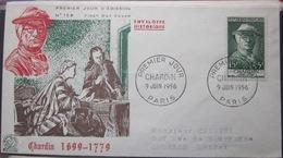 Enveloppe FDC 158 - 1956 - Chardin - YT 1069 - France