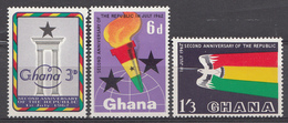 Ghana 1962 Mi.nr: 127-129 2.Jahre Republik  Neuf Sans Charniere /MNH / Postfris - Ghana (1957-...)