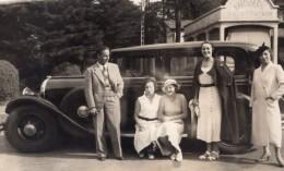 France Groupe Posant Belle Automobile Boulangerie Patisserie Ancienne Carte Photo 1930 - Cars