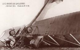 France WWI Aviation Accident Du Biplan Farman F.50 Ancienne Carte Photo Noyer 1918