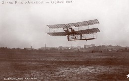 France Grand Prix D'Aviation Avion Farman En Vol Ancienne Carte Photo Marque Etoile 1908 - Aviation