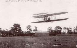 France Aviation Biplan Wright En Vol Ancienne Carte Photo Marque Etoile 1908 - Aviation