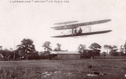 France Aviation Biplan Wright En Vol Ancienne Carte Photo Marque Etoile 1908