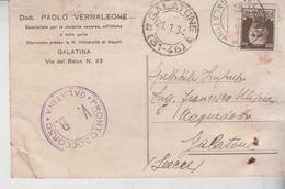 Galatina Lecce Pronto Soccorso 1934 Cartolina Pubblicitaria Dott. Vernaleone Per Galatone Lecce  Gg - Storia Postale