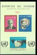 1965  Famous Mes Albert Schweitzer, Hammerskjold, Kennedy, Churchill Imperf Sheet Of 3 Different ** - Ecuador