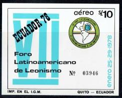 1978  Lions Club International Latinamerican Forum Souvenir Sheet ** - Ecuador