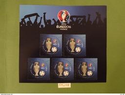 "FRANCE 2016 FOOTBALL BLOC FEUILLET 3D  "" UEFA EURO 2016  "" Comprenant 5 TIMBRES à 2,00 Euros Gommé"