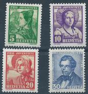 Switzerland 1935 Pro Juventute SET 4V PRO JUVENTUTE 4v Various Costumes MH