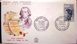 Enveloppe FDC - 1962 - Joseph Lakanal - Ariège - Serres-sur-Arget - YT 1347 - France
