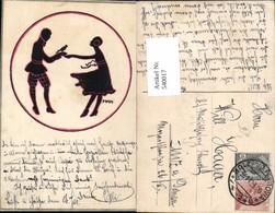 540017,tolle Künstler AK Silhouette Scherenschnitt MKH Tanz Frau Mann - Scherenschnitt - Silhouette