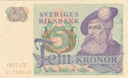 Suède - Billet De 5 Kronor - 1977 - Gustav Vasa - Neuf - Suède