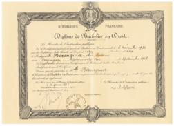 R F  DIPLOME DE BACHELIER EN DROIT  à DRAGUGNAN  (VAR)  1935 - Diplômes & Bulletins Scolaires