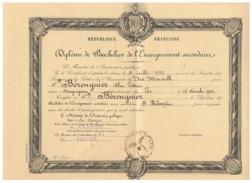 R F  DIPLOME DE BACHELIER DE L'ENSEIGNEMENT SECONDAIRE  à DRAGUIGNAN (VAR )  1933 - Diplômes & Bulletins Scolaires