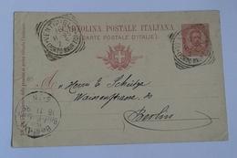 1895 INTERO POSTALE X ESTERO IMPERO TEDESCO DA VENTIMIGLIA A BERLINO  (398) - 1878-00 Umberto I
