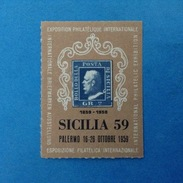 Erinnofilo Chiudilettera Nuovo MNH** - Sicilia 59 Palermo Esposizione Filatelica Internazionale - Cinderellas