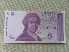 Billete Croacia. 5 Dinares. 1991. Medidas 10,5 X 5,5 Cm. Sin Circular - Croacia