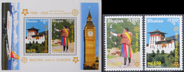 Bhutan 2006, 50th Europe Stamps, Archery, Clock, Plane, 2val+BF