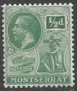 Montserrat. 1922-29 KGV. ½d Green MH. Mult Script CA W/M SG 64 - Montserrat