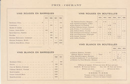 Prix Courant F Theil Fils Château Poujeaux Moulis Médoc Vins Fins De La Gironde (+/- 1924) - Food