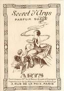 "PARFUM ARYS - CARTE PARFUMEE ""SECRET D' ARYS"" - TRES BEL ETAT. - Perfume Cards"