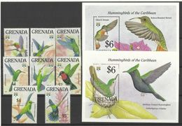 GRENADA  1992   HUMMING BIRDS  SET  & MINISHEETS  MNH