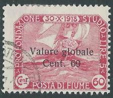 1919 FIUME USATO VALORE GLOBALE 60 CENT - F10-3 - Occupation 1ère Guerre Mondiale