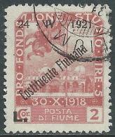 1921 FIUME USATO COSTITUENTE FIUMANA 2 LIRE - F10 - Occupation 1ère Guerre Mondiale