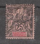 GUADELOUPE 1892 Type Groupe  Yvert N° 34, 25 C Noir / Rose  ,obl  VARIETE Petit E De ET ,TB Peu Courant - Guadeloupe (1884-1947)