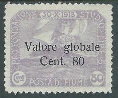 1920 FIUME VALORE GLOBALE 80 CENT MH * - F5-4 - 8. Occupazione 1a Guerra