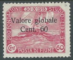 1920 FIUME VALORE GLOBALE 60 CENT MH * - F5-4 - 8. Occupazione 1a Guerra