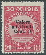 1920 FIUME VALORE GLOBALE 10 CENT MH * - F5-4 - Fiume