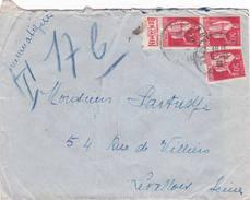 Neuilly St James Seine 1933 Pneumatique Paix 50ct Avec Bande Pub De Carnet Blédine Levallois Perret - Bolli Manuali